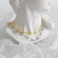 INALIS New 925 Sterling Silver Loop Link Chain Choker For Women Gold Plated Sexy Necklace Statement Chokers Wholesale Jewelry