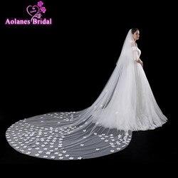 AOLANES 2018 Новое поступление 4 метра элегантные длинные свадебные вуали цвета слоновой кости 3D Фата невесты с цветами свадебные аксессуары Veu de ...