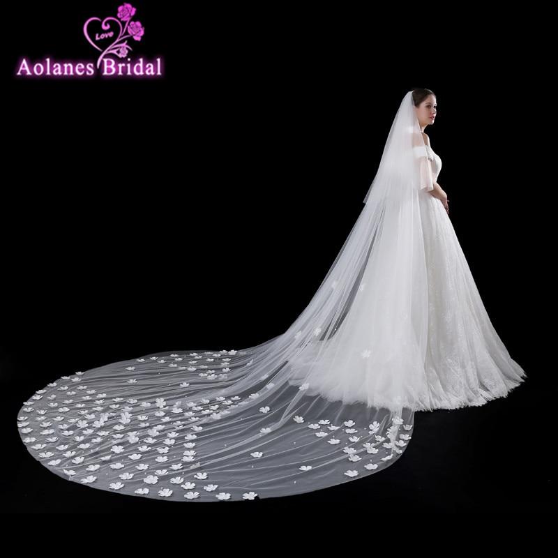 AOLANES 2018 New Arrival 4 Meters Elegant Ivory Long Wedding Veils 3D Flowers Bridal Veil Wedding Accessories Veu De Noiva Longo
