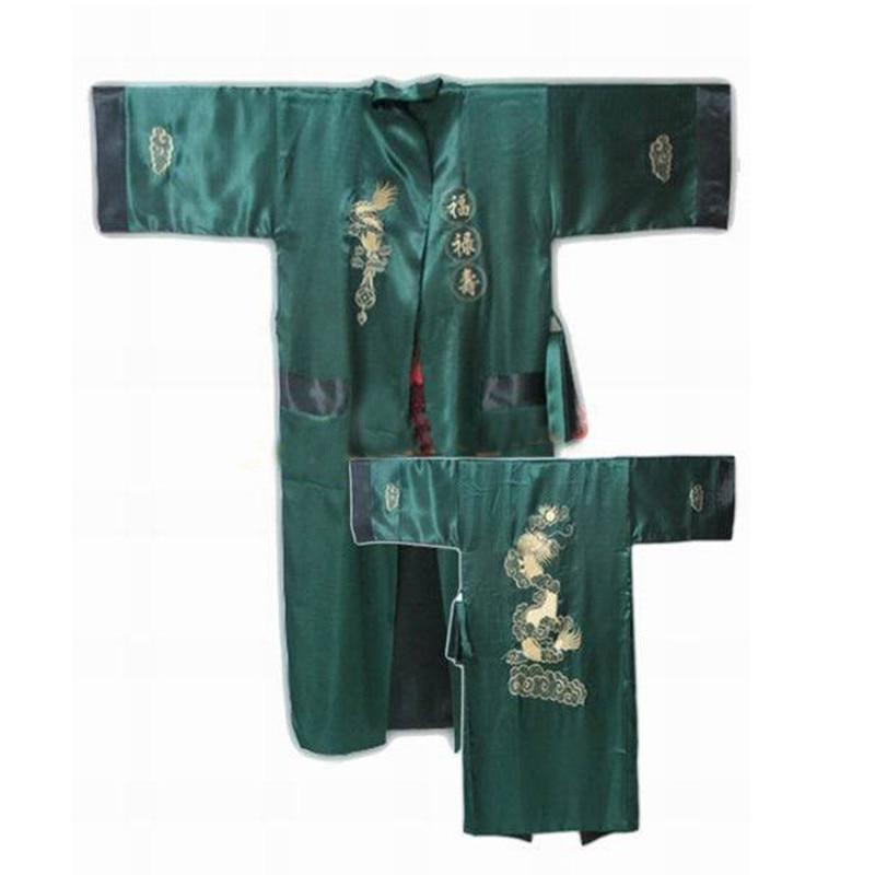 New Arrival Green Black Mens Silk Polyester Reversible Bathrobe
