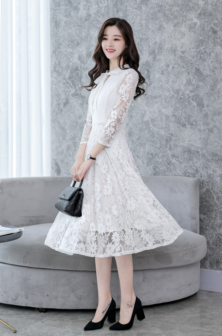 8ad5d6d1a701d 2018 Women Elegant White Lace Dress Female Korean Floral Crochet Casual  Dress 3/4 Sleeve Pink Green Champagne Cute Long Dresses-in Dresses from  Women's ...