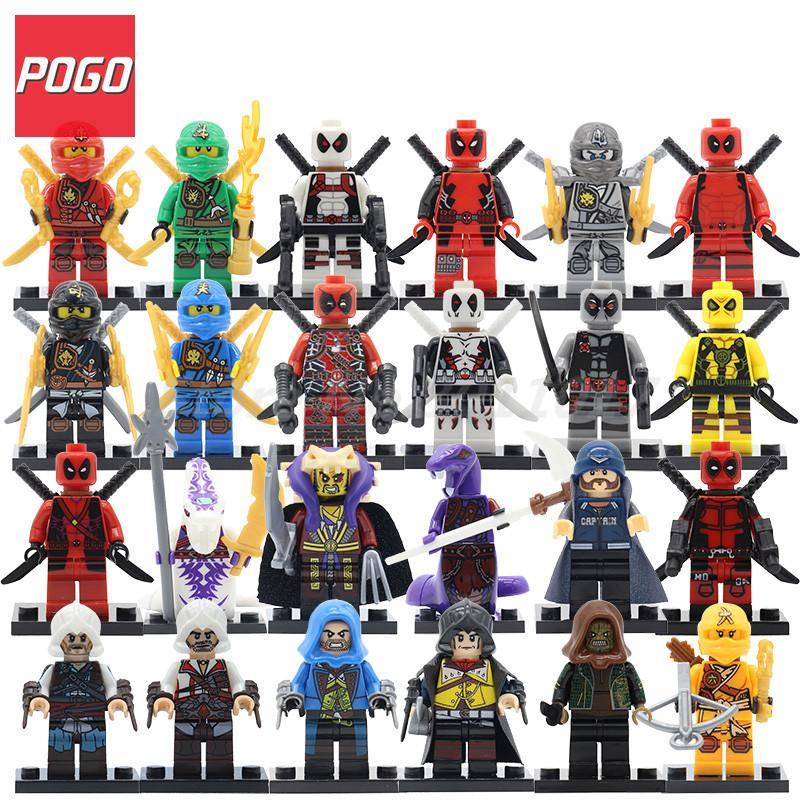 POGO Deadpool Ninjagoinglys Figure Wholesale 20pcs/lot Assassin's Creed 2 Suicide Squad Ninja Building Blocks Toy For Children suicide squad volume 2 basilisk rising