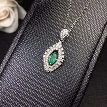 bc257ae0f1a0 SHILOVEM 925 Emerald colgantes joyería fina clásica enviar collar regalo de  boda al por mayor 4 6mm nueva dz040601agml