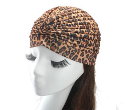 1pcs Women India Caps Retro Headband Hijab Muslim Turban Leopard Pleated Headwear Vintage Beanies Hat 2017 New Cheap Hot