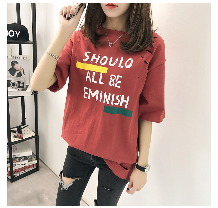 XL- 4XL 2019 new plus size summer loose High Street hole Letter print short sleeve O-Neck women T-shirt top tee TY5 23