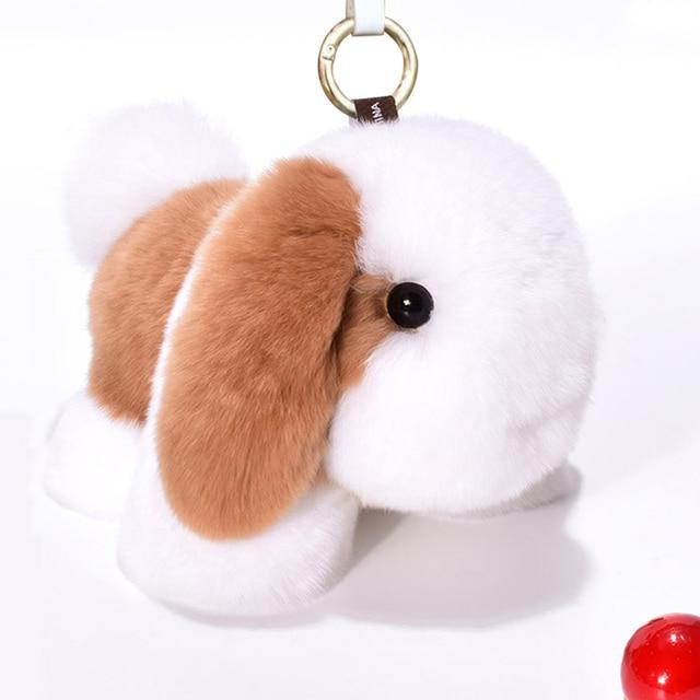 Fluffy Real Rex Rabbit Fur Puppy Keychain Key Ring Women Key Chain Pendant  Car Bag Charm Dog Toy Doll Trinkets Christmas Gift 74873dc927692