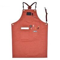 Shoulder strap cowboy apron barista barber work aprons restaurant bar baking overalls