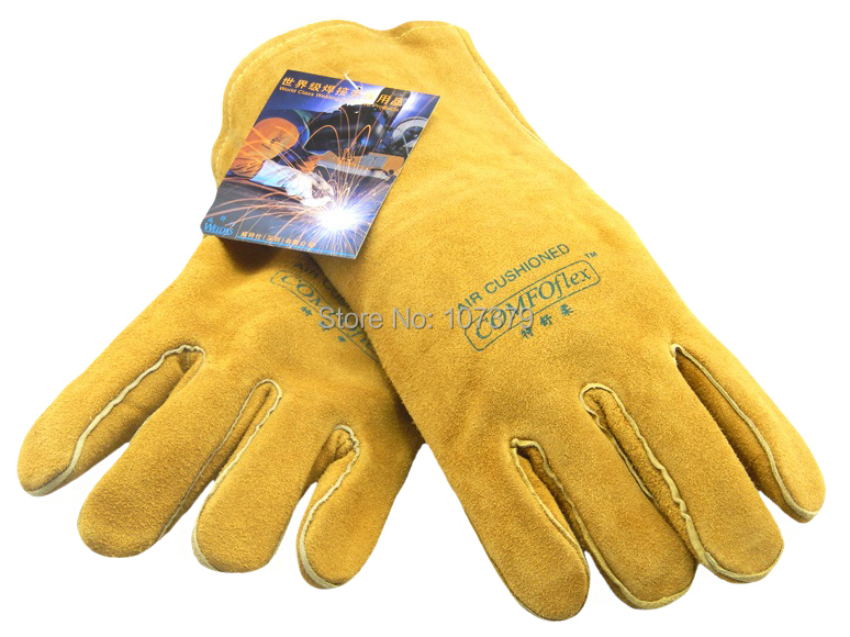 Leather Work Glove TIG MIG Safety Glove Cow Split Leather Welding Glove leather combined safety glove deluxe leather work glove