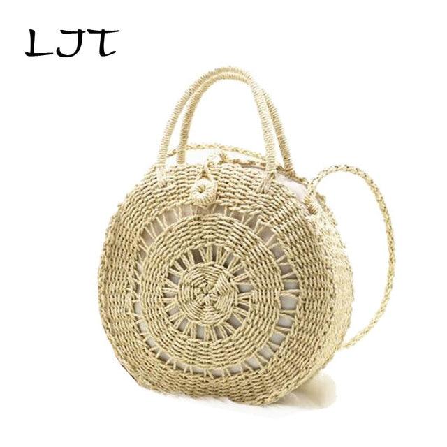LJT Round Straw Bag Disc Hollow Paper Rope Weaving Grass Bag ins Style Travel Summer Circle Bohemia Beach Bag Handbags femme sac