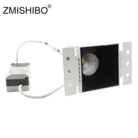 ZMISHIBO 9W COB LED Square Downlights 85 265V 75mm Cut Hole Anti glare Deep Concave Recessed Ceiling Aluminum Housing Spot Lamp