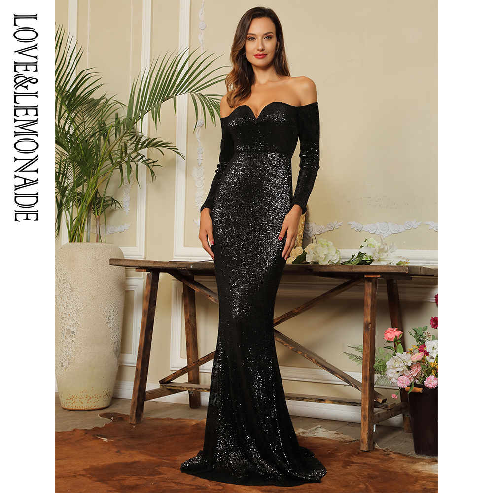 Love Lemonade Sexy Deep V Collar Long Sleeve Elastic Sequin Material Long Dress LM80273 BLACK