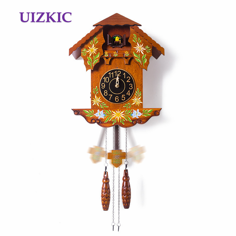 Wall cuckoo  clock wooden fashion vintage colored drawing of a watch  timekeeping watch for children birthday holiday gift air dragon portable air compressor