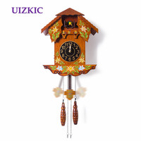 Wall cuckoo clock wooden fashion vintage colored drawing of a watch timekeeping watch for children birthday holiday gift