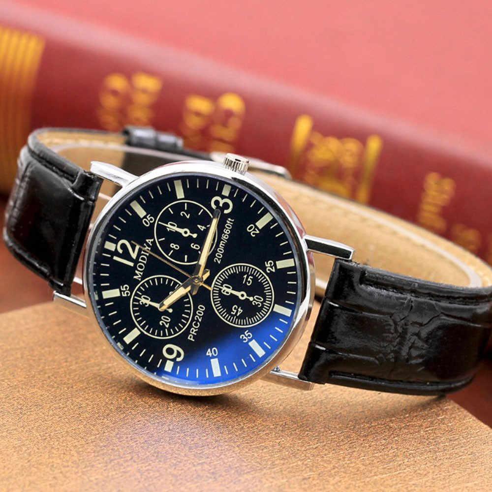 Luxury Mans Brand Three Eyes Six Pin Watches montre homme Leather Band Quartz Men's Watch Blue Glass Belt Alloy Watch 2019 New