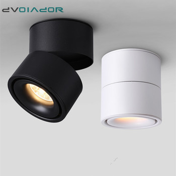Surface Mounted Led ceiling lamp 7w/10w/12w/15w Foldable and 360 degree rotatable COB background spot light Dimmable downlights artpad modern 7w black ceiling surface mounted light cob led 360 degree rotatable spotlights living room coffee cloth shop led