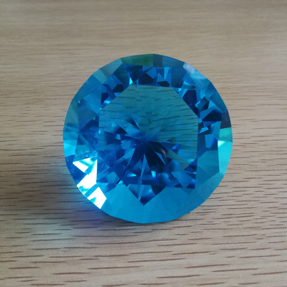 Fast Shipping And Logo 6pcs Customized 60mm aquamarine Crystal Glass Brilliant Diamond Paperweight,Wedding Gifts Decoration