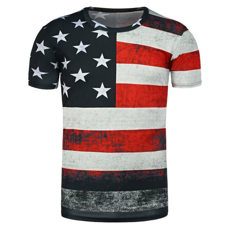 American Flag 3d Prints Running T Shirt Men Short Sleeve Sports Hiking Sports t-shirt Outdoor
