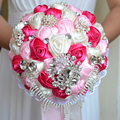 2017 Bridal Bridesmaid Wedding Bouquet Cheap Luxury Crystal Pink&Ivory&Fuchsia Handmade Artificial Rose Flower Bridal Bouquets