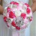 2017 dama de Honor Nupcial de La Boda Bouquet Barato Artificial Hecha A Mano de Lujo de Cristal Rosa y Marfil y Fucsia Rosa Ramos de Flores de Novia