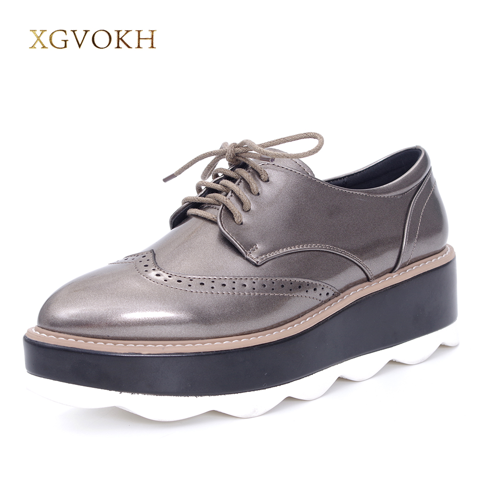 XGVOKH Women Causal Shoes High Platform Comfortable Fashion Bullock Pointed Toe Lace-Up  Dress Flats high quality Zapatos Mujer new 2017 spring summer women shoes pointed toe high quality brand fashion womens flats ladies plus size 41 sweet flock t179