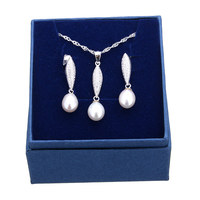 Romantic Joyas De Plata 925 Necklace Earrings Jewelry Sets Pearl Pearl Necklace Set Earring Wedding Party