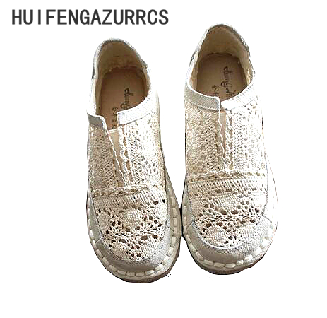 HUIFENGAZURRCS Genuine leather shoes pure handmade lazy shoes lace hook Ladies flower casual shoes Sweet art
