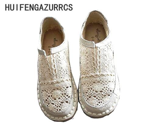 где купить HUIFENGAZURRCS-Genuine leather shoes,pure handmade lazy shoes,lace hook Ladies flower casual shoes ,Sweet art flat shoes,2color по лучшей цене