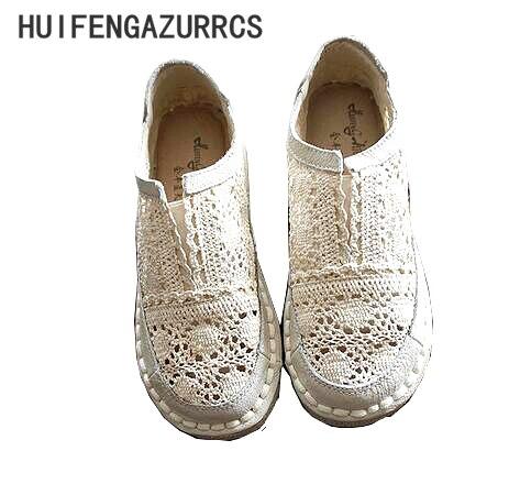 HUIFENGAZURRCS-Véritable chaussures en cuir, pur à la main paresseux chaussures, dentelle crochet Dames fleur chaussures décontractées, Doux art chaussures plates, 2 couleur