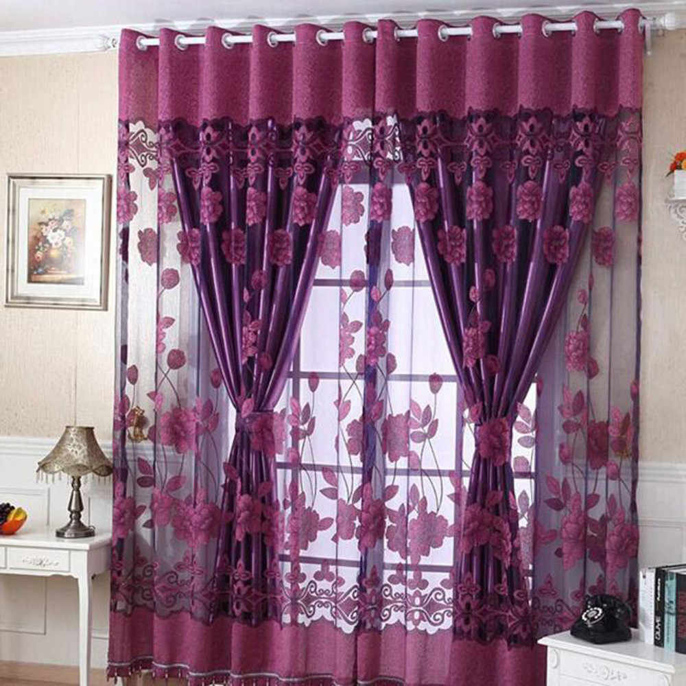 Hot Sale 250cmxB10cm Print Floral Voile Door Curtain Window Room Curtain Divider Scarf Luxury fashion Beauty Curtain Bedroom B1