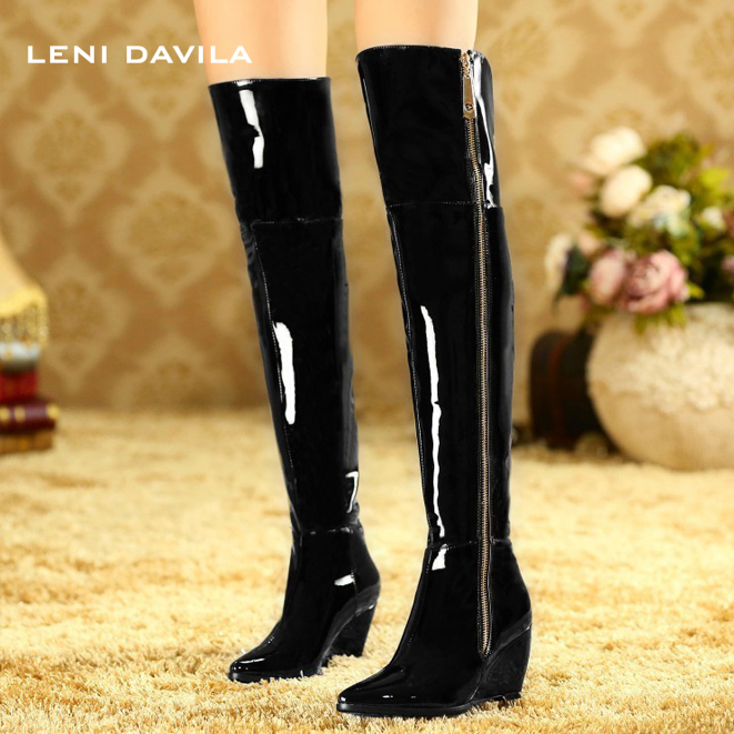 LENI DAVILA 2017 new Genuine Leather pointed toe over the knee boots for women patent leather wedges long boots big size31-45 цены онлайн