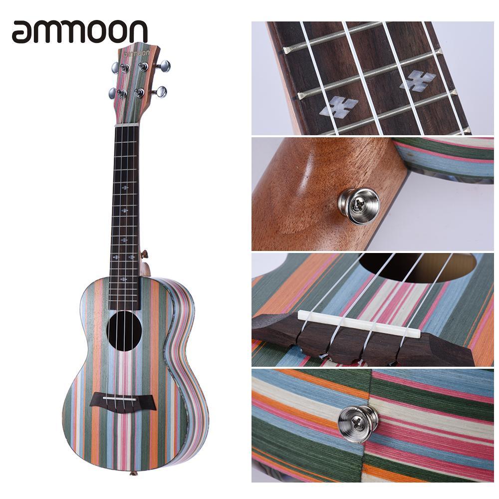 Ammoon Colorized 24 Ukulele Ukelele Uke Acoustic Soprano Wooden 18 Frets 4 Strings Okoume Neck Rosewood Fingerboard Music Gift Pretty And Colorful Musical Instruments Ukulele