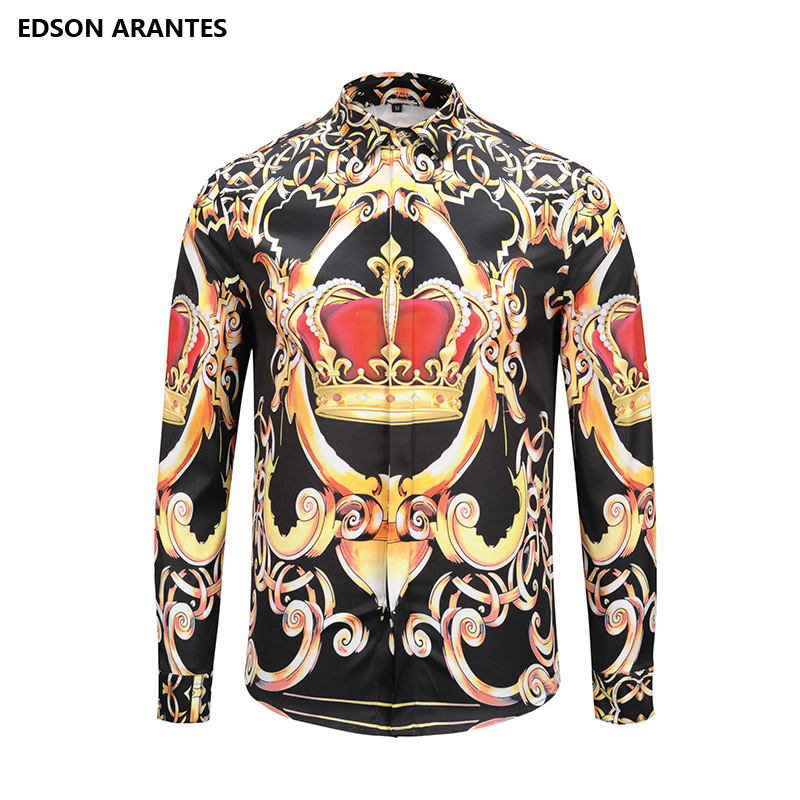 EDSON ARANTES New Male Shirt Long Sleeve Gold Flower Royal Dress Shirts  Unisex Casual Slim Fit 0dc1538c6dd2