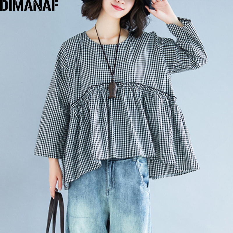 DIMANAF Plus Size Women   Blouse     Shirt   Linen Lady Tops Tunic Spliced Pleated Female Clothes Loose Big Size Casual Black Plaid 2019