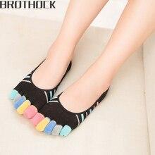 Brothock cotton five finger socks women color toe stripes shallow mouth invisible boat non-slip silicone