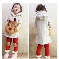 Winter Children 2 Pcs Suit Cartoon Panda Thick Warm Sweater Lovely Pants Baby Girls Clothing Set