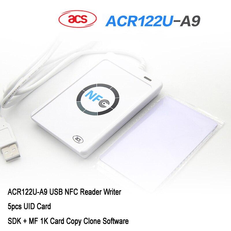 NFC ACR122U Cloner copieur lecteur graveur 13.56 Mhz RFID duplicateur + 5 pièces UID carte + SDK + MF 1 K carte copie Clone logiciel
