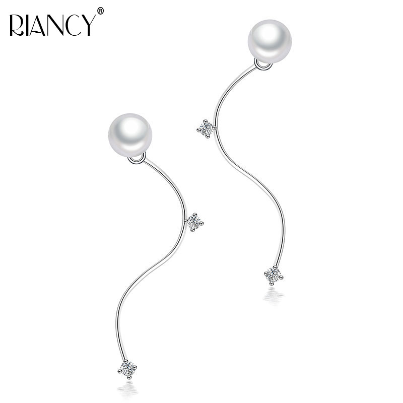 Hot Selling 925 sterling silver jewelry 7-8mm size 100% real freshwater pearl earrings for women Top quality gift box
