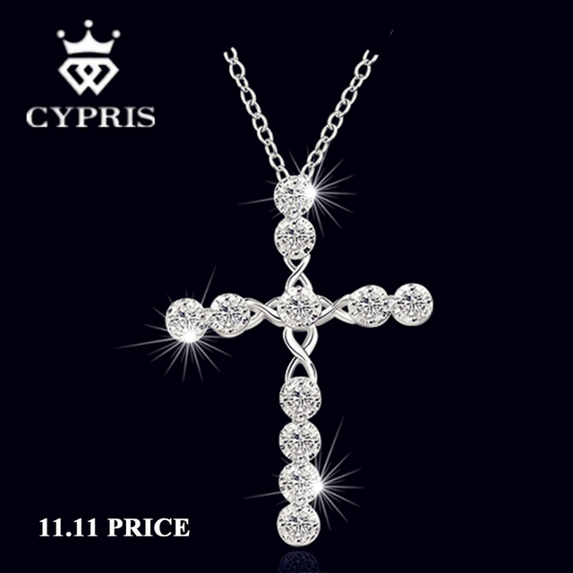 Big Cross necklace  silver crystal CZ stone