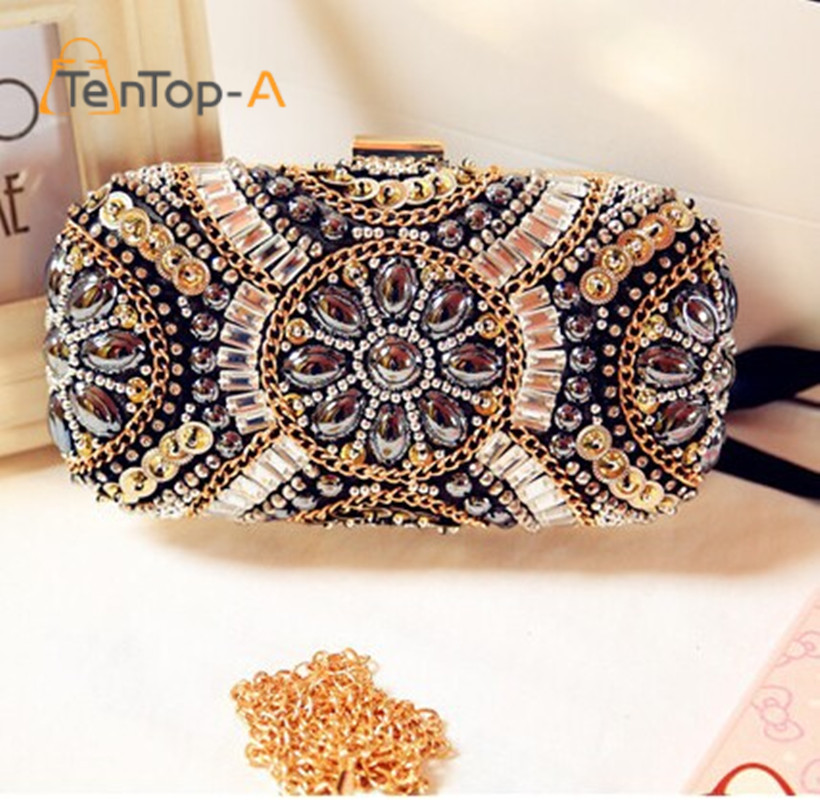 Bolsa De Festa Clutches : New luxury gem diamond flower crystal evening clutch bags