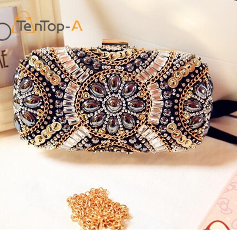 New LUXURY GEM Diamond Flower Crystal Evening Clutch Bags Hot Styling Day Clutches Lady Wedding Purse Bags Bolsa De Festa YM1142