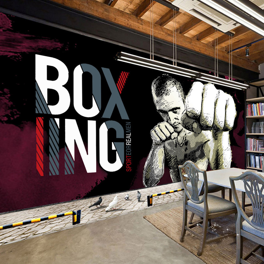 Custom Photo Wall Paper 3D Boxing Gym Background Poster Murals Papel