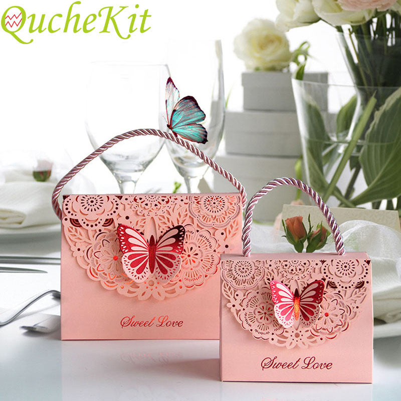 20pcs Hollow Carved Fold Butterfly Candy Box Wedding Favors Gift Packaging Box Jewelry Bag Craft Paper Tote Bag Party Supplies