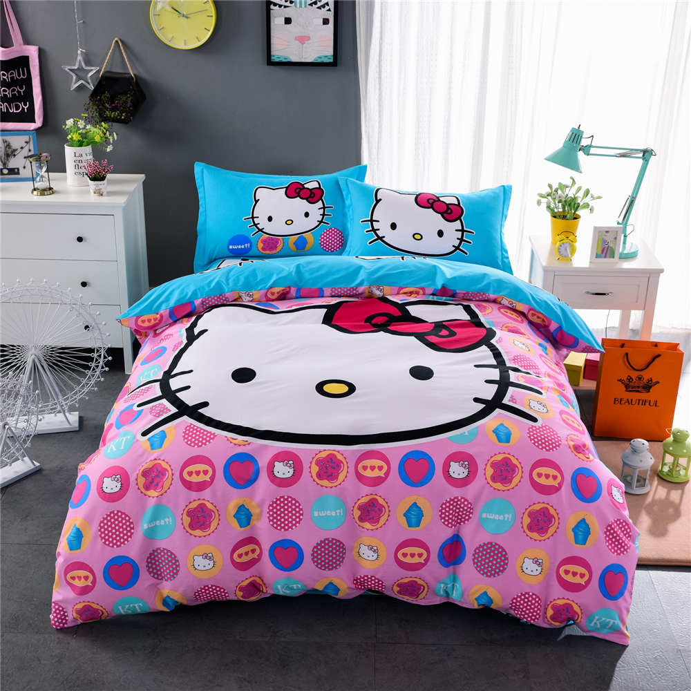 Black hello kitty bedding - Pink Blue Fashion Hello Kitty Print Bedding Sets Bedspreads Girl S Childrens Quilt Duvet Cover Cotton