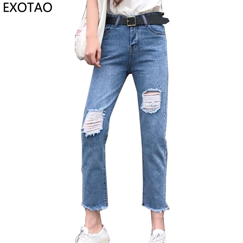 EXOTAO Design Ripped Feet Holes Jeans Women Vintage High Waist Pants Female Washed Denim Pantalones Autumn Vinatge Vaqueros tommy hilfiger tommy hilfiger 1u87904669 100 white