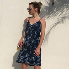 2018 New Single-row Button Printed Sling Dress Backless Straps Bow Holiday A Word Beach Solid Color Summer Dress