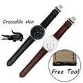 Elegante Correa de reloj de 18mm Para Activite Withings/acero/Pop de Calidad venda de Reloj de piel de Cocodrilo Para Hombre Negro relojes Correa accesorios
