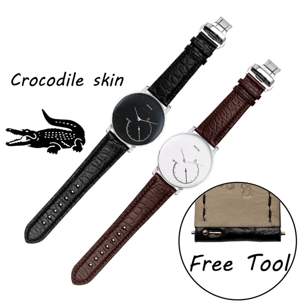 цена на Smart Watchband 18mm For Withings Activite/ steel/ Pop Quality Crocodile skin Watch band Mens Black Strap watches accessories