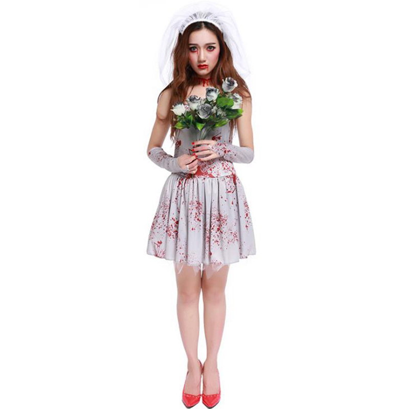 Halloween Purim Scary White Blood Zombie Corpse Bride Costume Adult Costumes Cosplay Dress For Women Ghost Doctor Nurse
