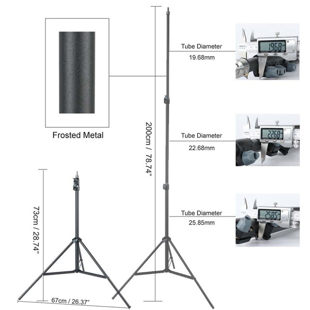 Heavy Duty Metal 2m Light Stand Max Load to 5KG Tripod for Photo Studio Softbox Video Flash Reflector Lighting Background Stand 1