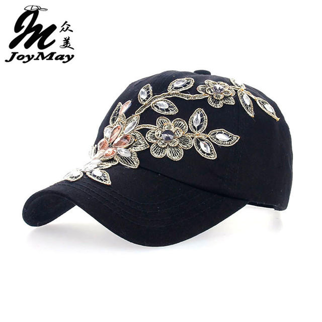 2016 Women Variety Rhinestone &Crystal Shining Studded Cotton Denim Visor Hat Bling Adjustable Baseball Caps Free Shipping B038
